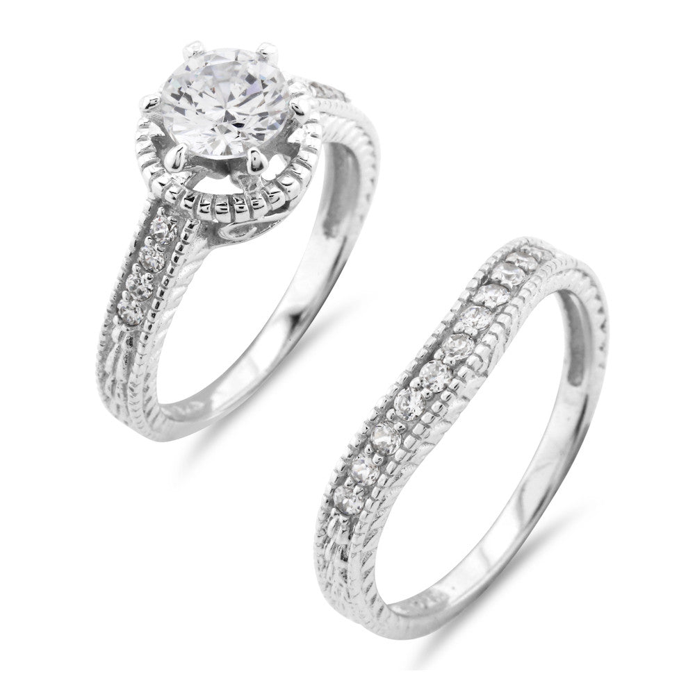 Vintage Halo Style Engagement and Wedding Ring Set - www.sparklingjewellery.com