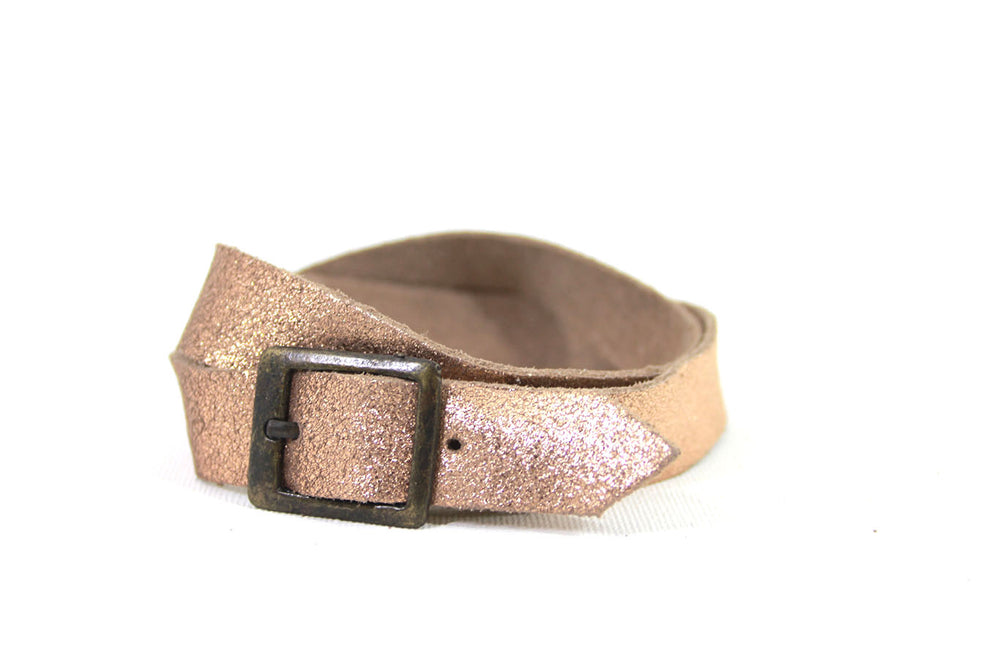 Leather Straps Rose gold sparkle