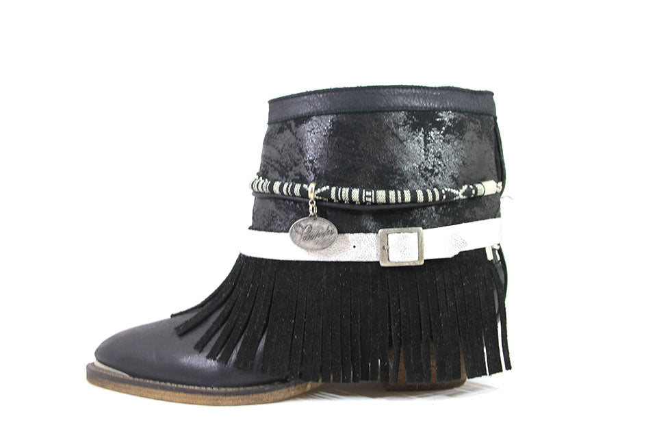 Leather Fringes Black