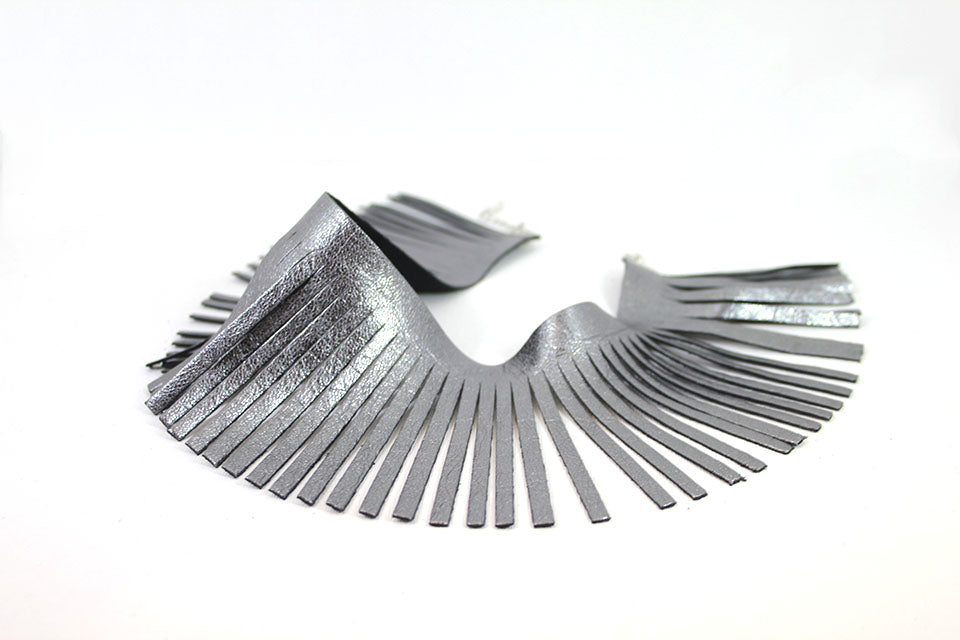 Metallic chrome leather Fringes