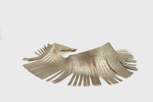 Metallic champaign leather Fringes