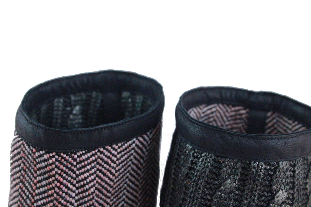 Black Reversible Add-on, Old pink harringbone - Metallic knit