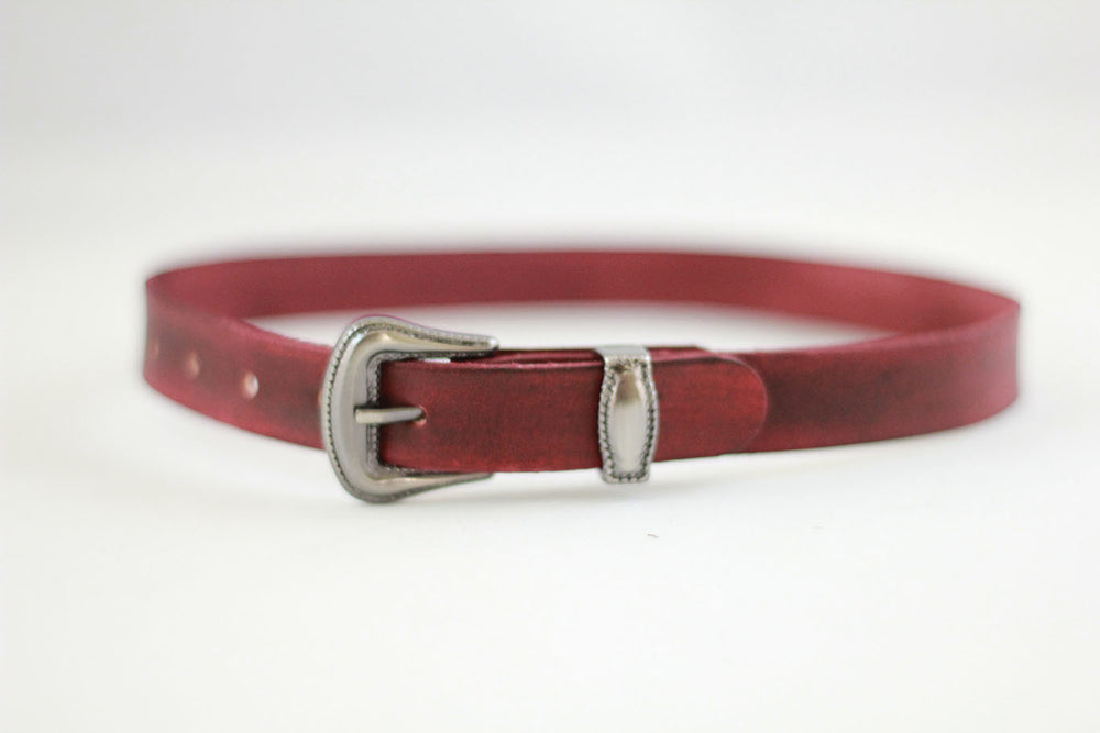 Western Straps burgundy/Old Silver buckle