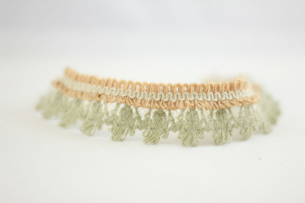 Boho Lace straps softgreen/terracotta