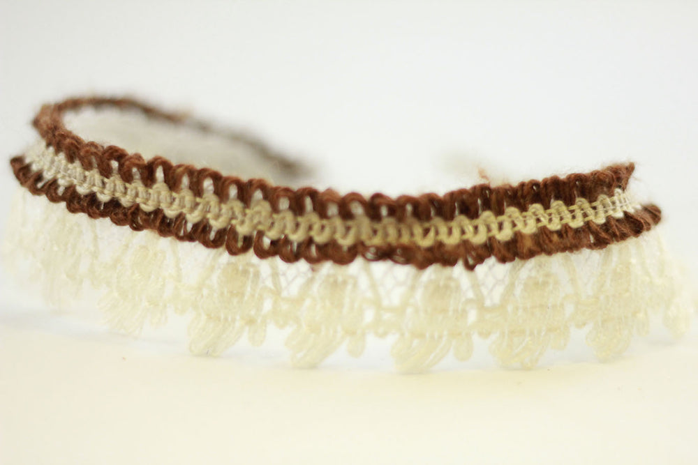 Boho Lace straps offwhite/brown