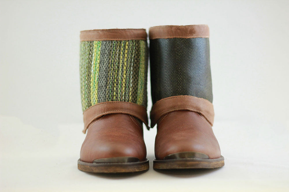Brown Reversible Add-on, Green striped - shiny dark green