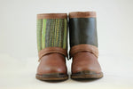 Brown Reversible Add-on, Green stiped - shiny greenish brown