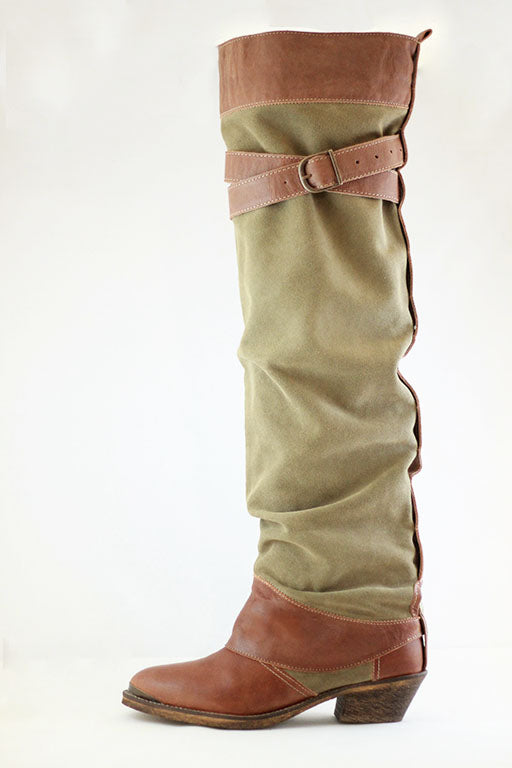 Brown/Olive Leather/Suède Knee-high add-on