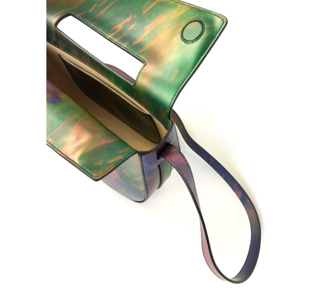 Printed iridescent vegan leather crossbody bag by Sydney Brown. Timeless, classic and modern.  Inside view.
