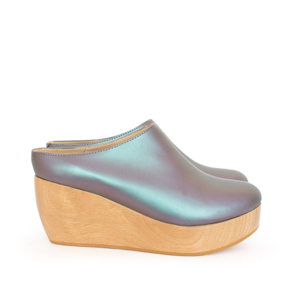 Matte Iridescent Clog, Platform Wood Heel. Sydney Brown Vegan, Animal-Free, Non-Leather, Ethical Magic