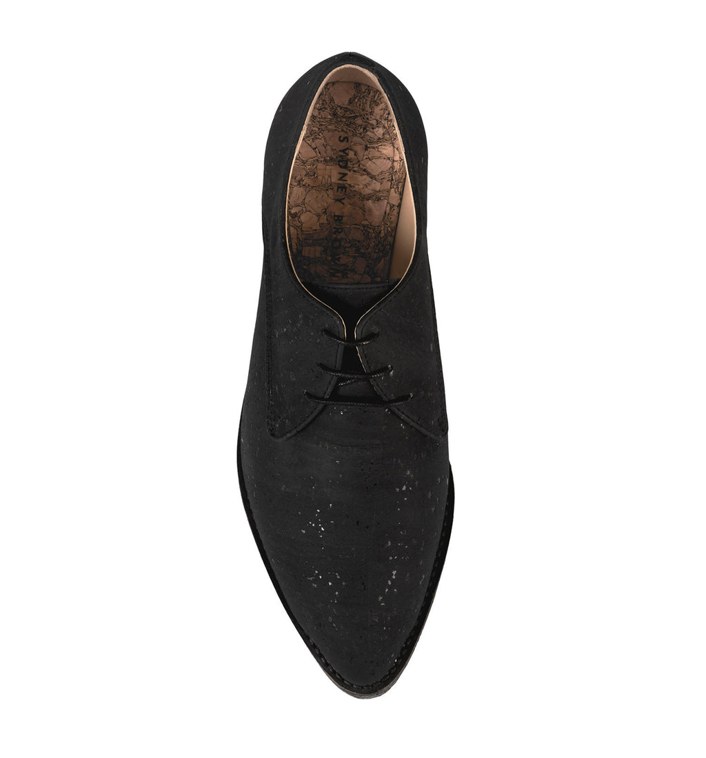 Crepe Derby Black in Charcoal Cork, pointy toe. top view.
