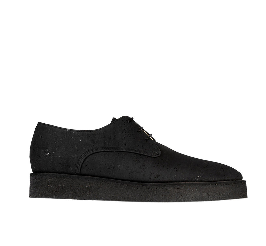 Crepe Derby Black in Charcoal Cork, pointy toe.