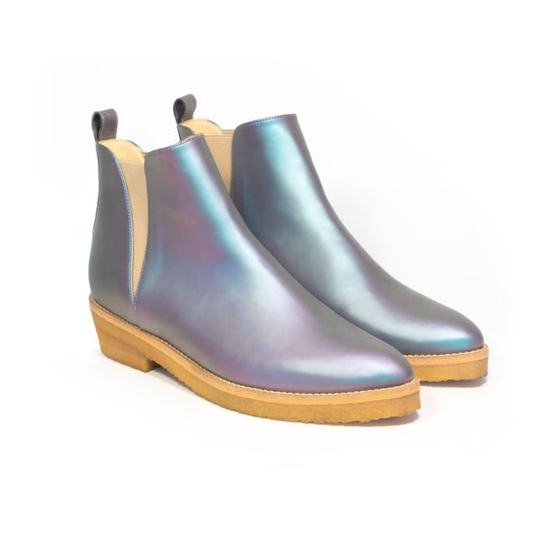 Chelsea Style Ankle Boot in Matte Iridescent vegan leather, almond pointy toe, elastic on sides with natural rubber crepe sole.