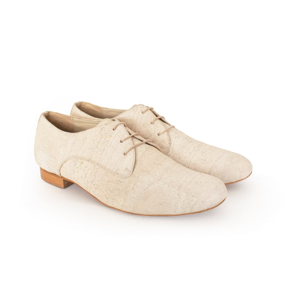Classic derby in Marble Cork with a natural wood low heel by Sydney Brown shoes. Vegan, cruelty-free, non-leather, sustainable & ethical