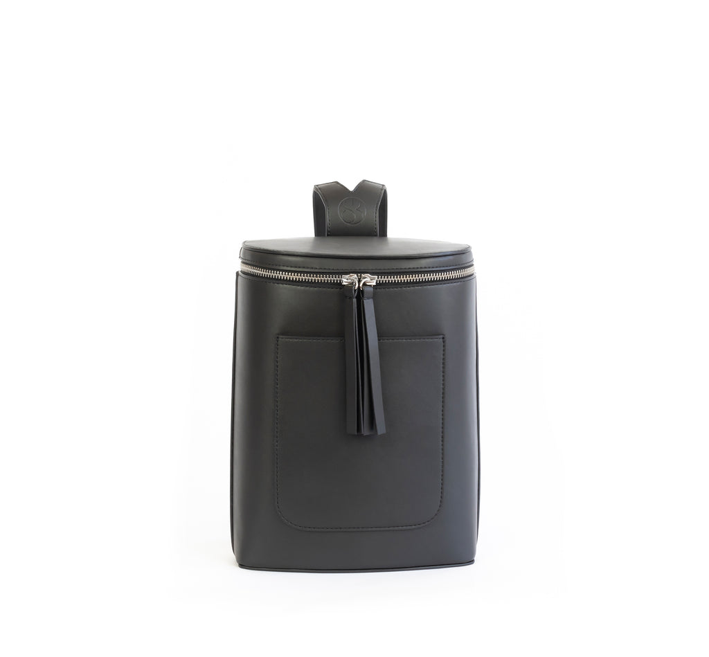 Black eco vegan leather bucket backpack by Sydney Brown. Timeless, classic and modern. Front view.
