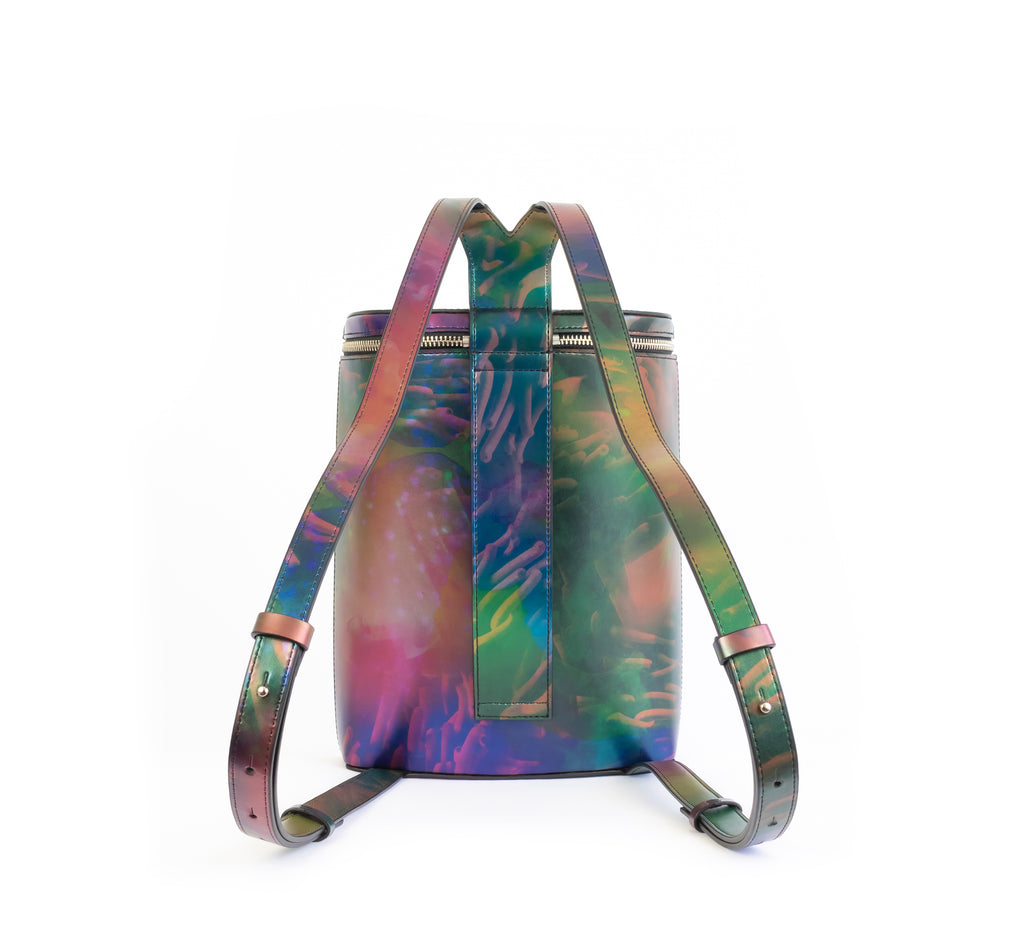 Printed iridescent vegan leather bucket backpack by Sydney Brown. Timeless, classic and modern.  Back