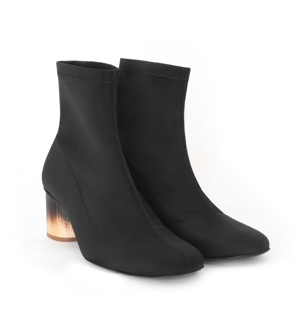Scuba Sock Boot, high-tech knit upper in Black, low-mid heel design in shou sugi ban.