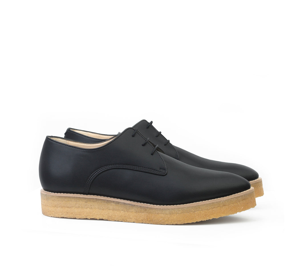 Crepe Derby in Black eco vegan leather, pointy toe, natural rubber crepe sole.