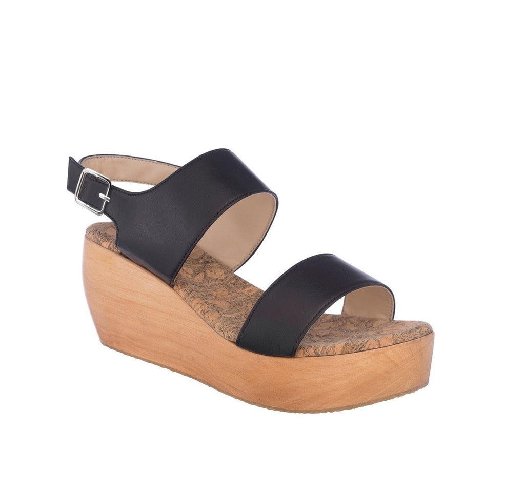 Sandal with two straps, black eco vegan leather with a natural wood platform.