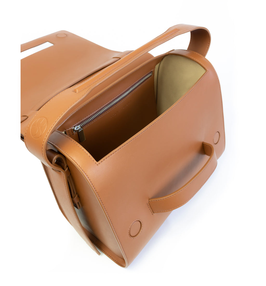 Brown eco vegan leather barrel shoulder bag by Sydney Brown. Timeless, classic and modern. Inside view