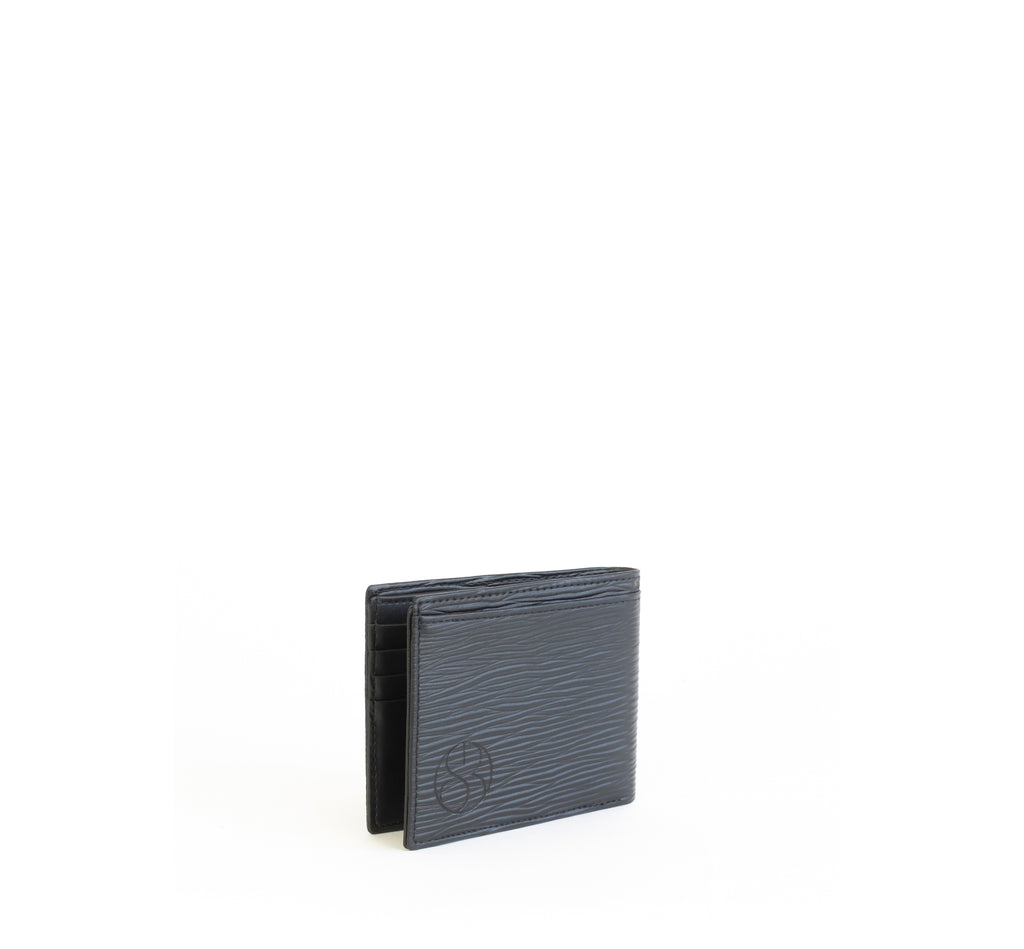 Unisex bifold wallet, practical and timeless. Black Emboss faux-leather. Angle