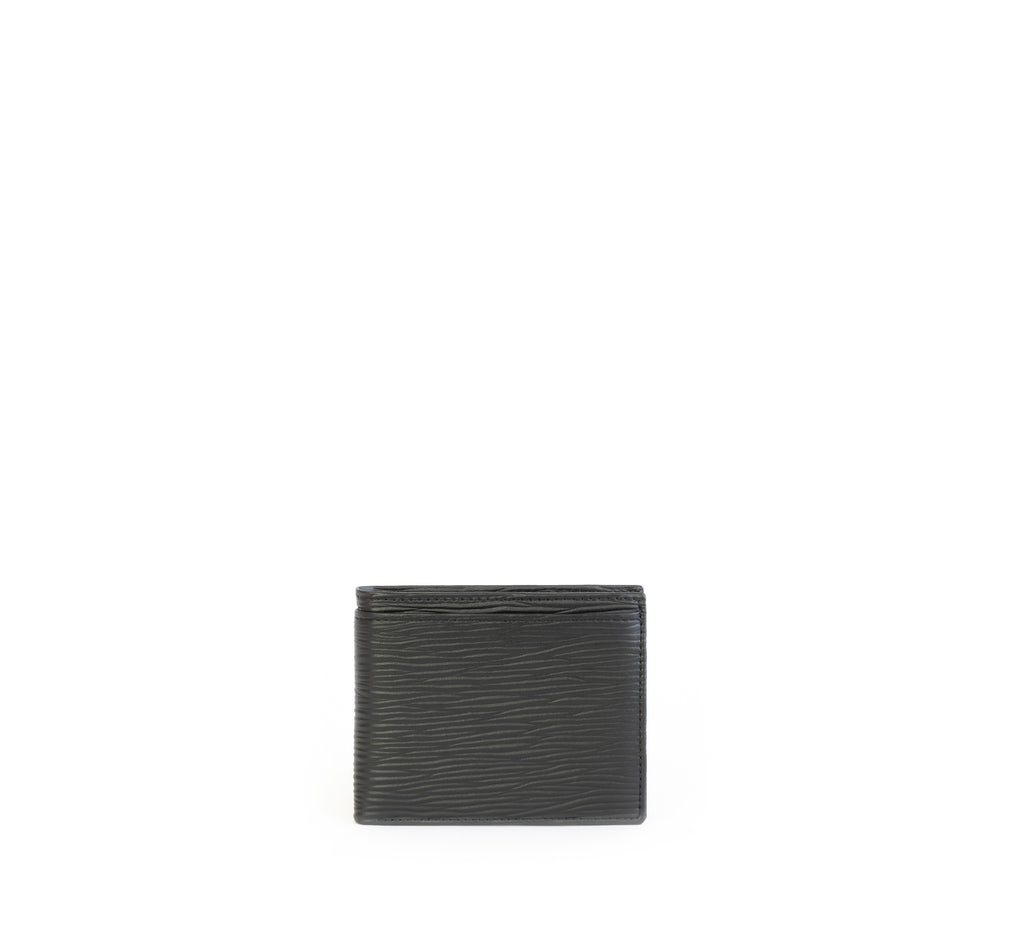 Unisex bifold wallet, practical and timeless. Black Emboss faux-leather. Front