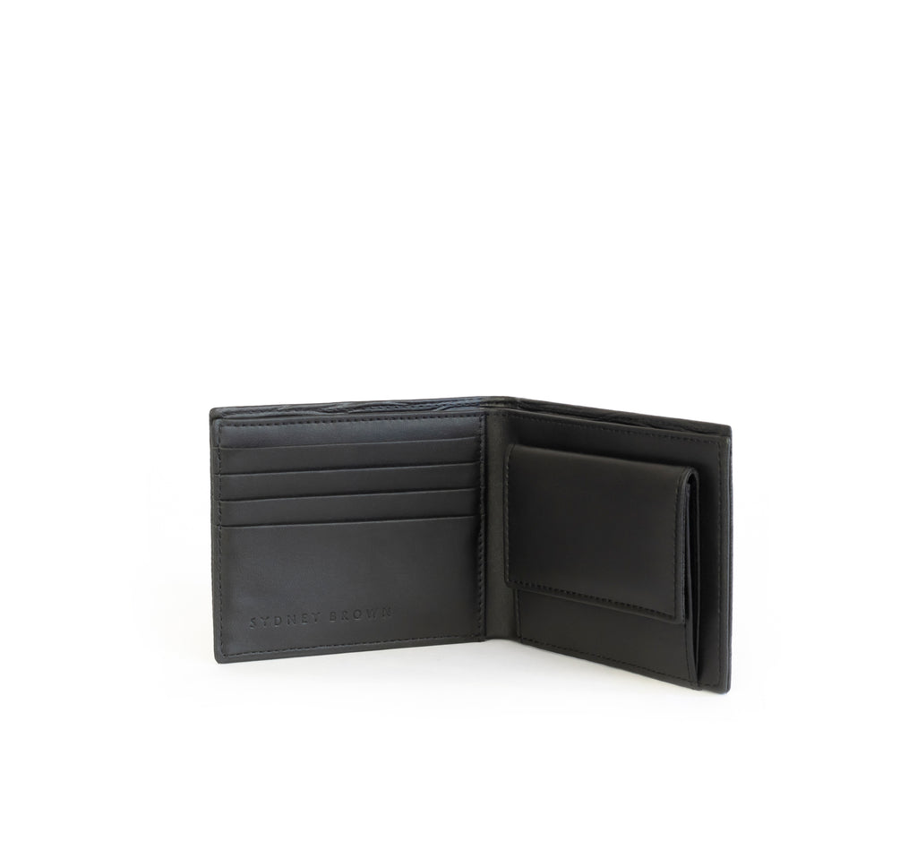 Unisex bifold wallet, practical and timeless. Black Emboss faux-leather. Inside Open