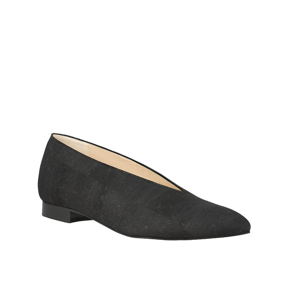 Sydney Brown Vegan, Animal-Free, Non-Leather, Ethical Classic V-Flats in Charcoal Black Cork, Pointy V-Shape Flats.