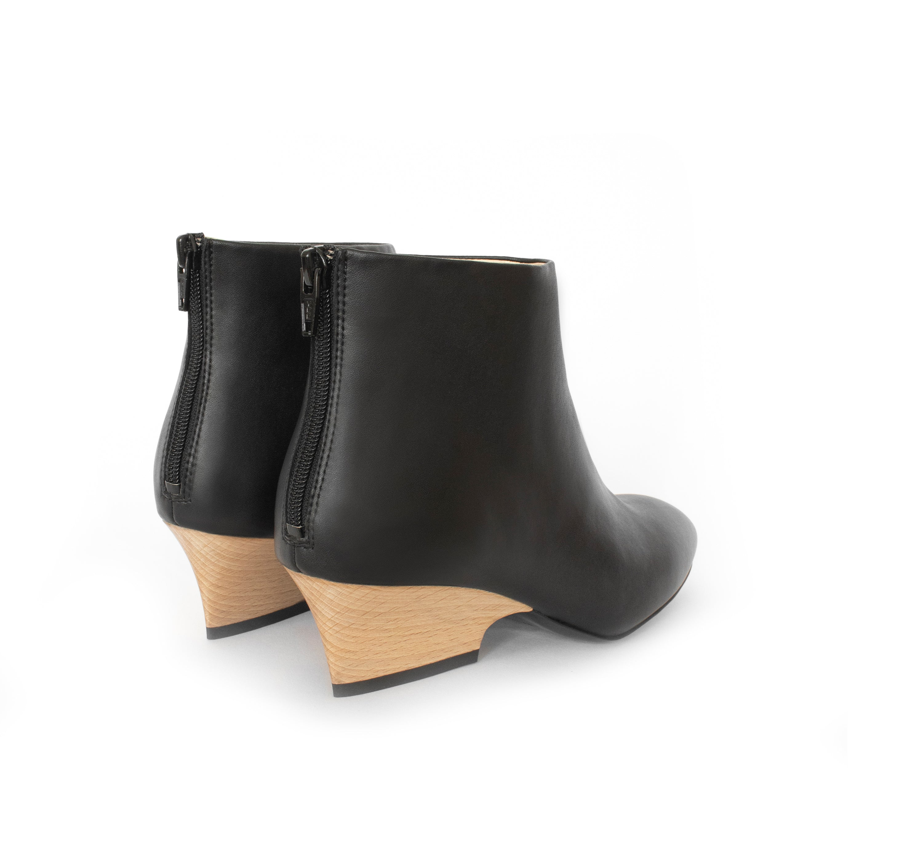 Black Faux-leather Bootie with a curved design mid-heel in light brown wood, back zipper.