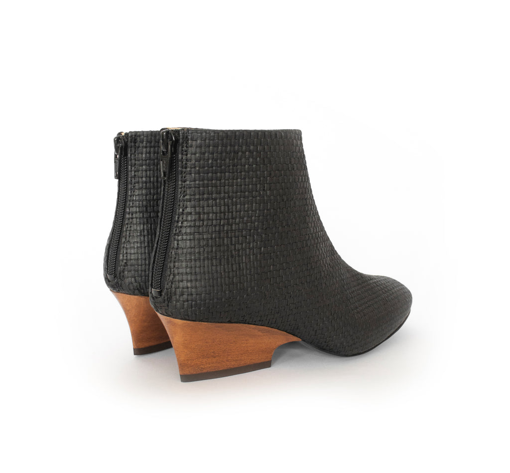 Black Raffia Bootie with a curved design mid-heel in dark cherry brown, back zipper.