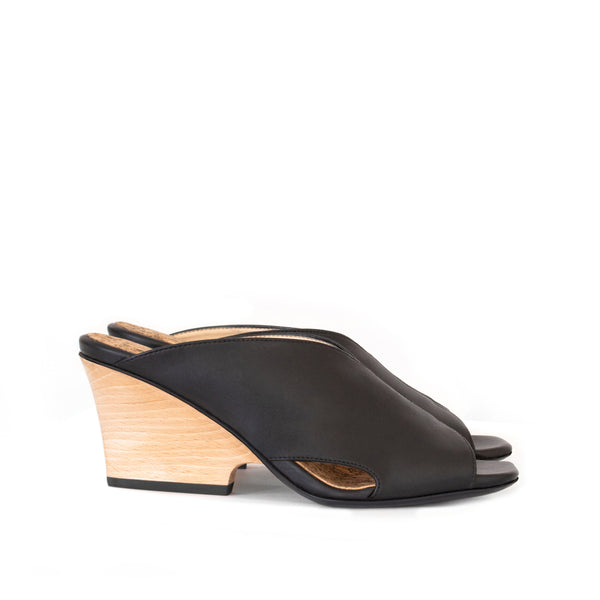 9ebb65cbfc8 High Heel Mules in certified black faux-nappa and breathable lining
