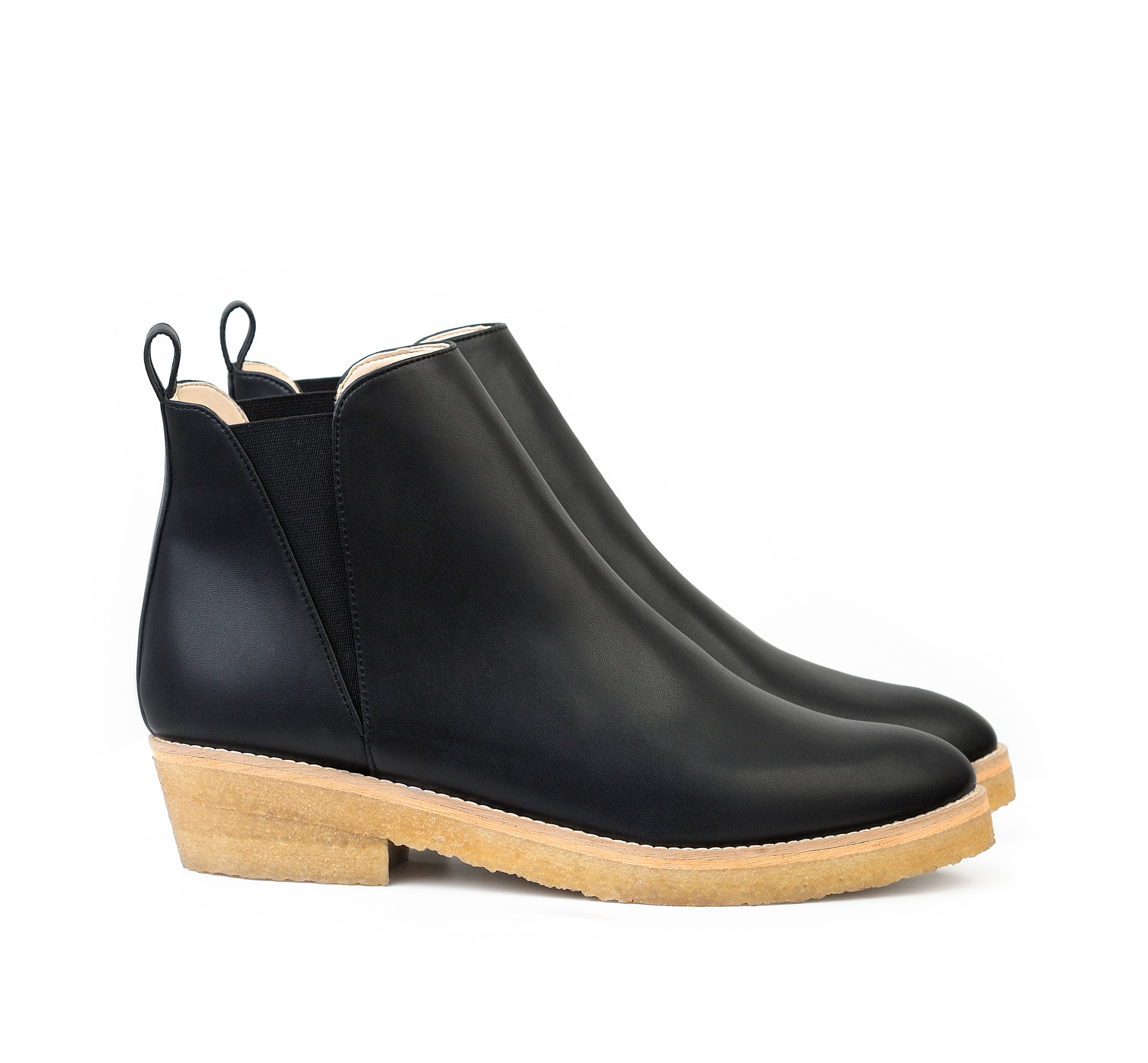 Chelsea Style Ankle Boot in Black eco vegan leather, almond pointy toe, elastic on sides with natural rubber crepe sole.