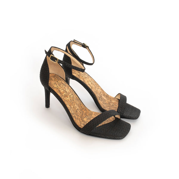 25af32684e6b Low Stiletto in Black Raffia. Vegan mid-heels made from recycled wood pulp.