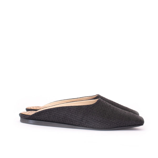Raffia Square Toe Slide in Black with black sole. Luxury Vegan Shoes. Sydney Brown Spring Summer 2019. Sustainable, eco-friendly SS19, classic fashion