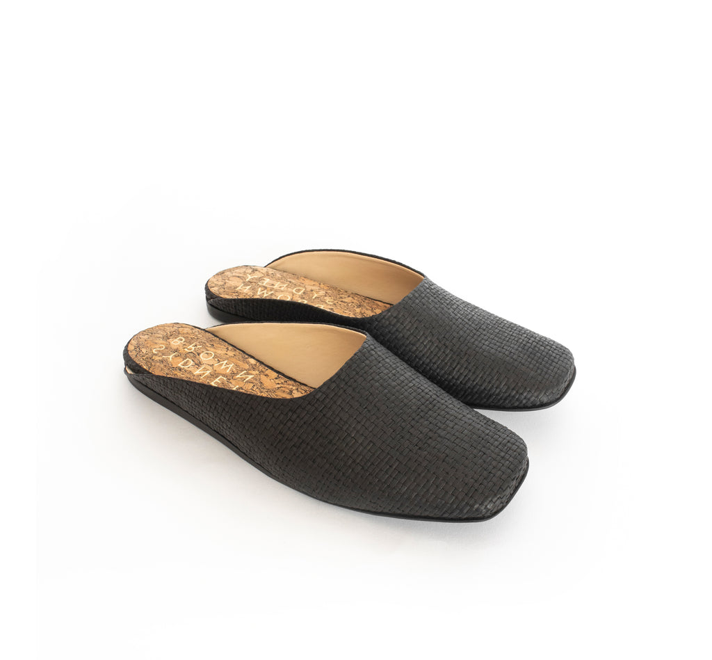Black Raffia Slide, closed square toe, black flat sole.