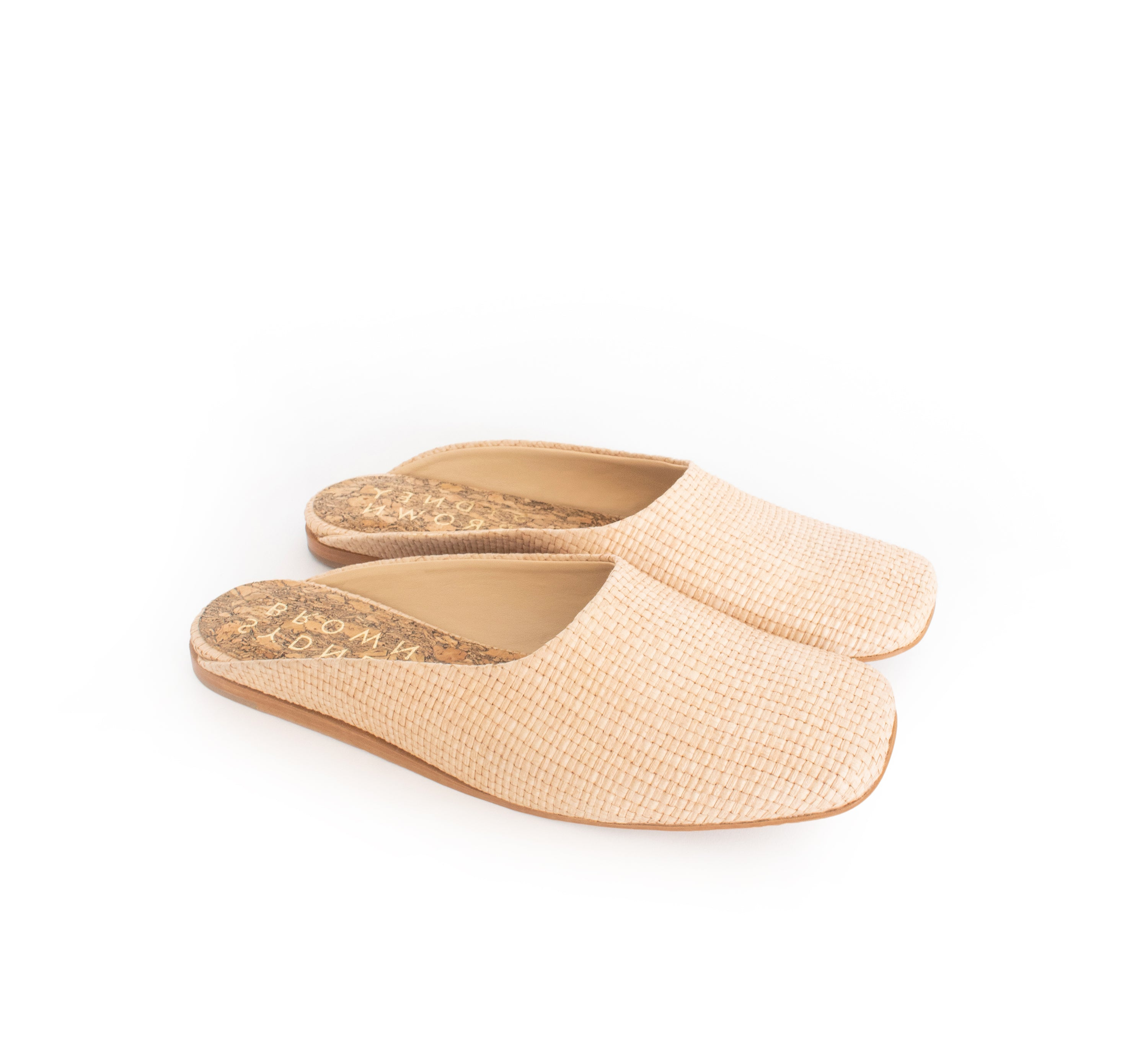 Raffia Square Toe Slide in Natural with natural sole. Luxury Vegan Shoes. Sydney Brown Flats for Spring Summer 2019. Sustainable, eco-friendly SS19, classic fashion.