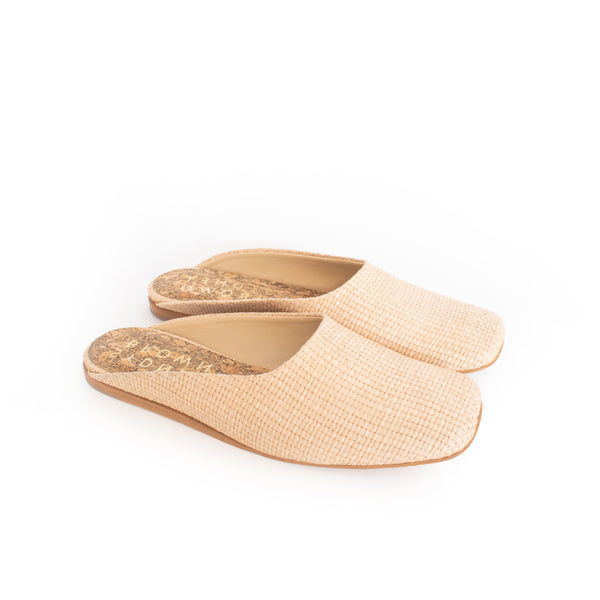 Natural Raffia Slide, closed square toe, natural flat sole.