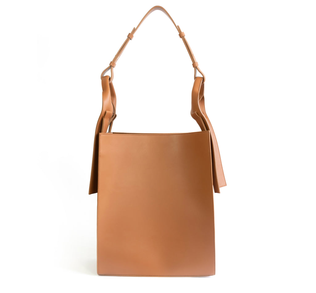 Brown eco vegan leather tote shoulder bag by Sydney Brown. Timeless, classic and modern. Front View.