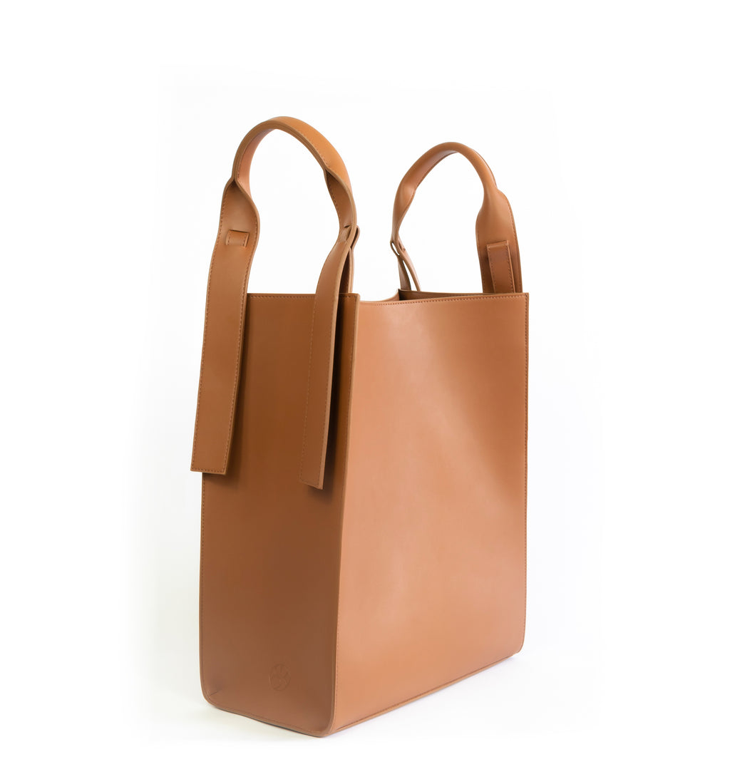 Brown eco vegan leather tote shoulder bag by Sydney Brown. Timeless, classic and modern. No shoulder handle.