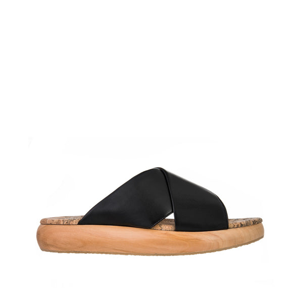 Sydney Brown Vegan, Animal-Free, Non-Leather, Ethical Cross Slide Sandals
