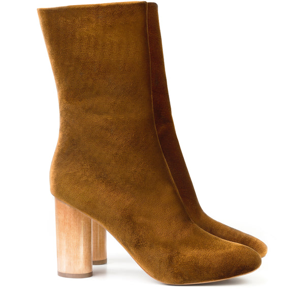 Mid-Calf Boot in Amber Velvet, natural wood high heels by Sydney Brown. Autumn Winter style. Ethical, Cruelty-Free, Sustainable. Handmade in Portugal
