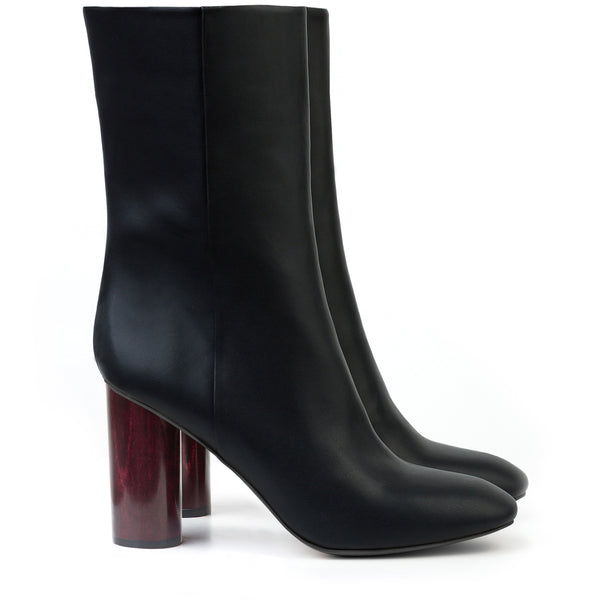 Mid-Calf Boot in eco-friendly Black Faux-Nappa by Sydney Brown. Auntumn Winter style. Ethical, Cruelty-Free, Wine-Stained Heel.