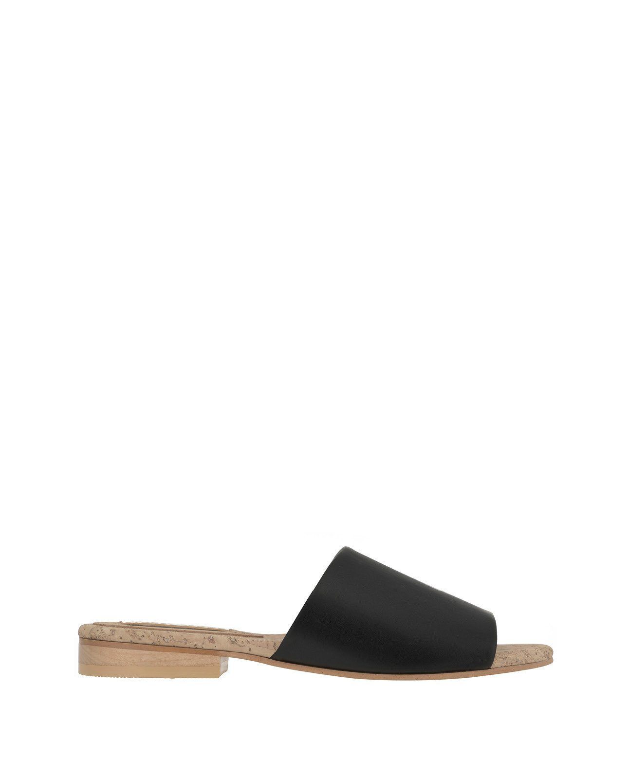 Flat slide in eco-friendly faux-nappa by Sydney Brown shoes. Vegan, cruelty-free, non-leather, sustainable & ethical