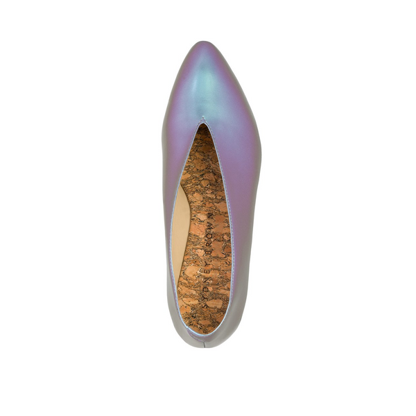 Sydney Brown Vegan, Animal-Free, Non-Leather, Ethical Classic V-Flats in Magic Iridescent Faux-Nappa, Pointy V-Shape Flats.