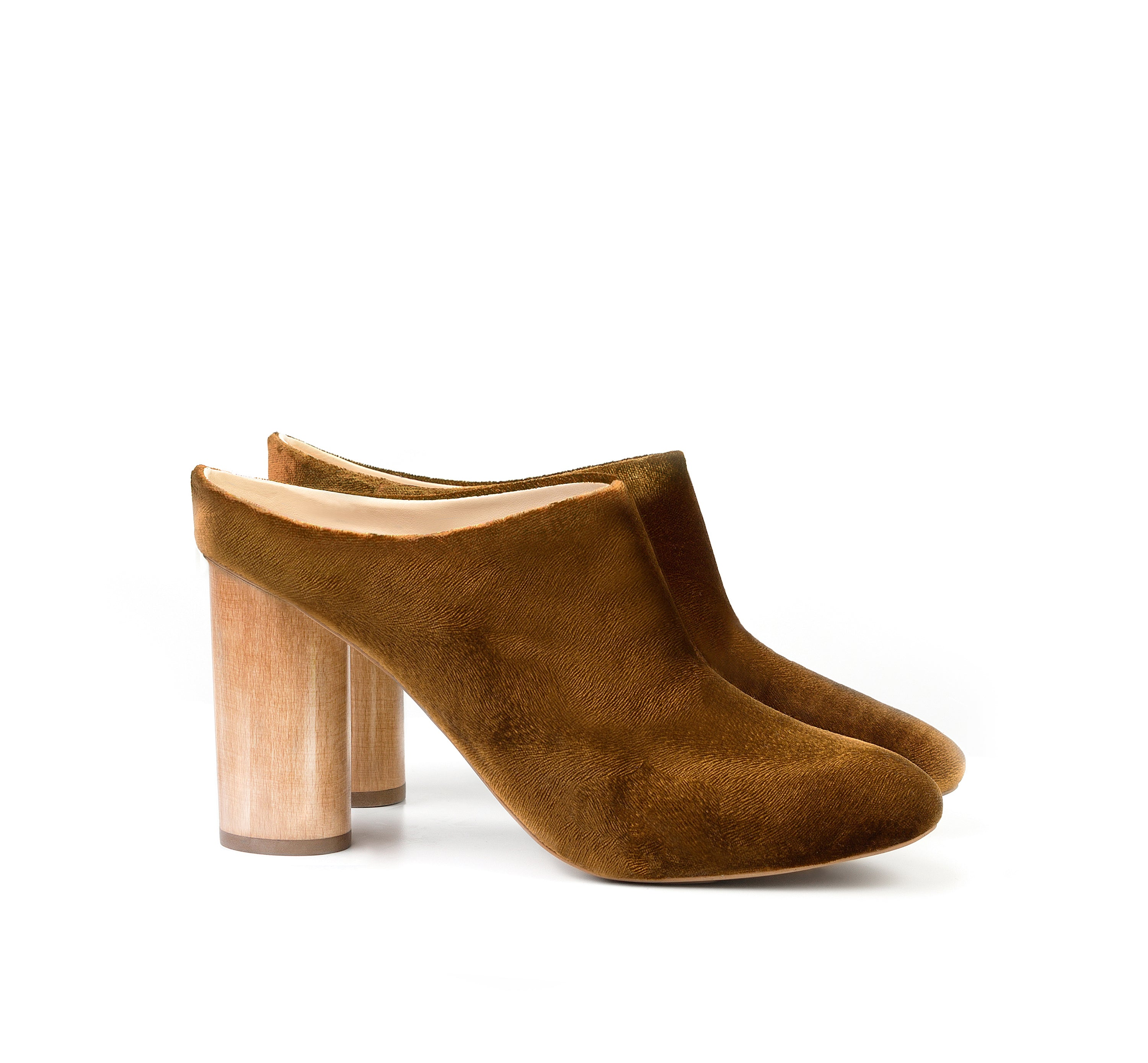 High Mule in Amber Velvet. Sustainable Wood Heel. Luxury shoes. Ethical and sustainable footwear by Sydney Brown.