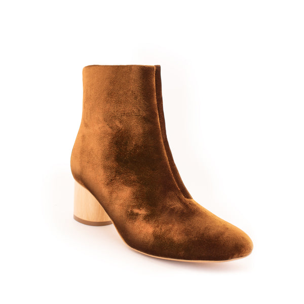 Low Ankle Boot in Camel velvet with a mid natural wood heel, inside zipper.