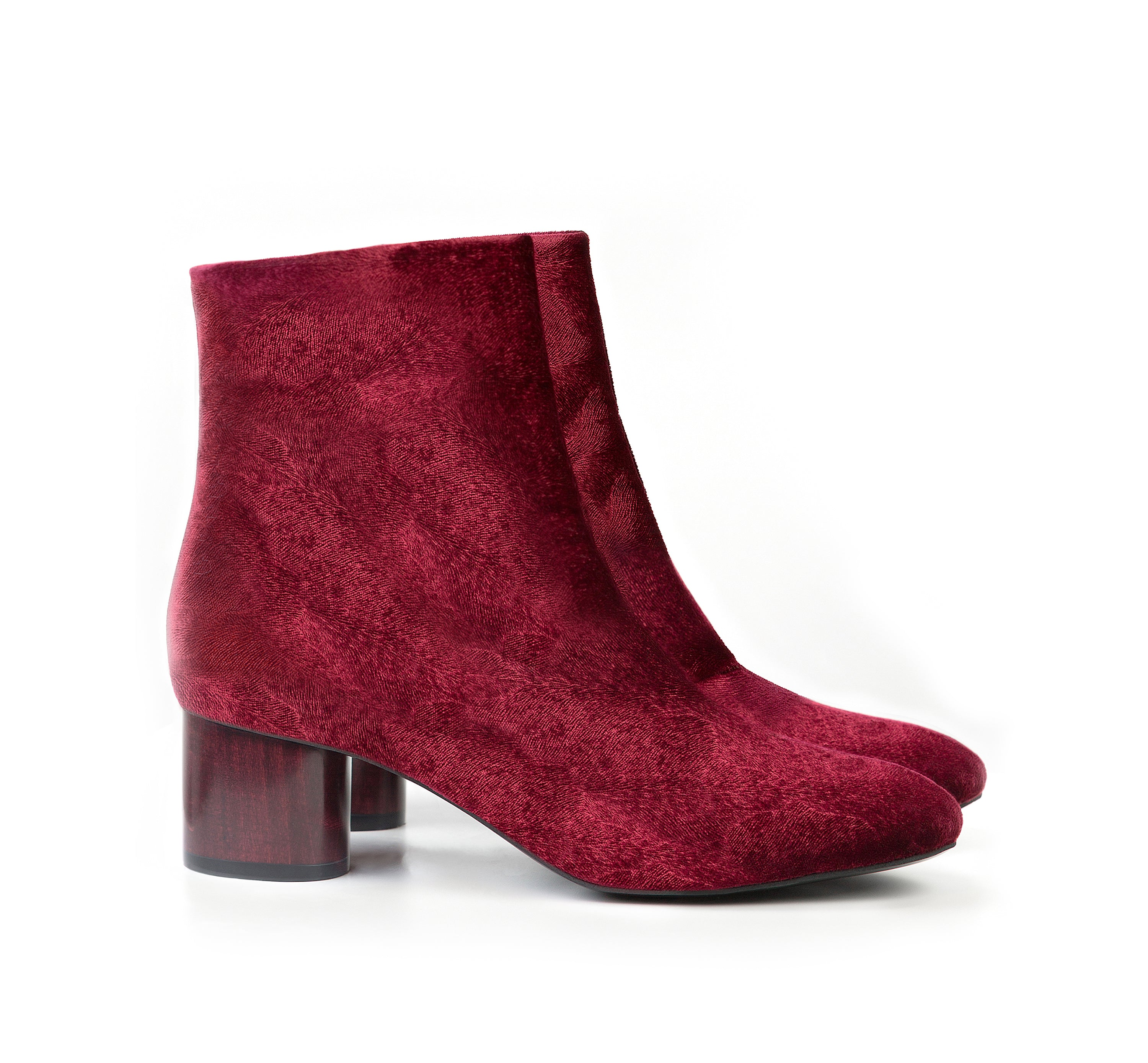 Low Ankle Boot in Wine Velvet. Vegan Luxe Ethical Footwear by Sydney Brown. Black Sustainable Wood Heels. Sustainable & Ethical. Cruelty-Free. Autumn Winter style.