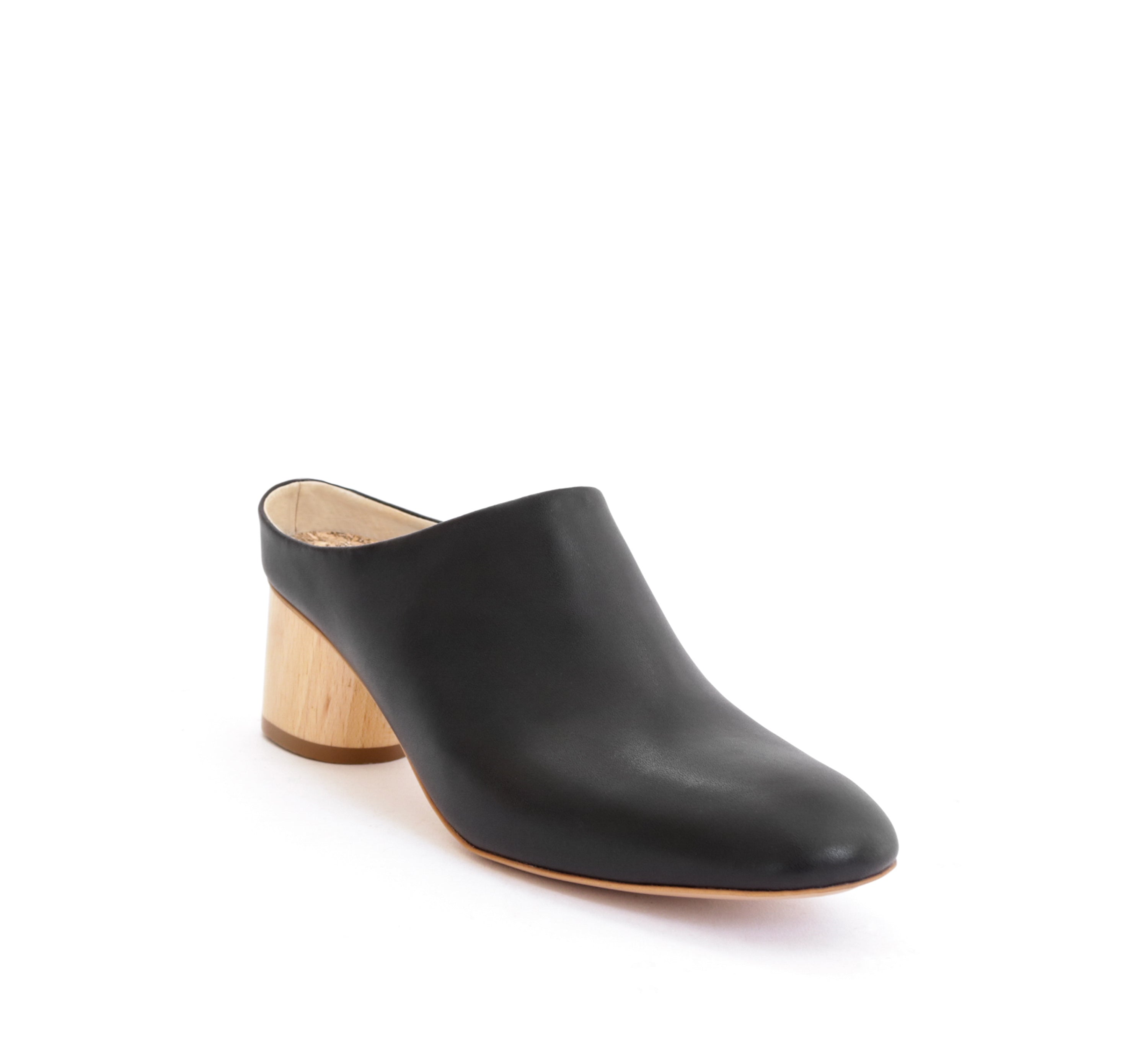 Low Mule Black Faux-Nappa. Vegan Luxe Ethical Footwear by Sydney Brown. Natural Sustainable Wood Heels. Animal Free. Cruelty-Free. Autumn Winter 2018. Handmade in Portugal