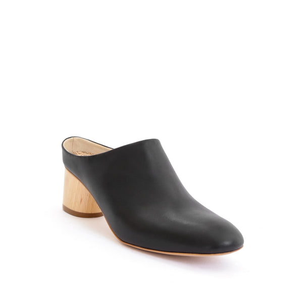 Mule in black eco vegan leather, almond toe with a natural wood mid-heel.