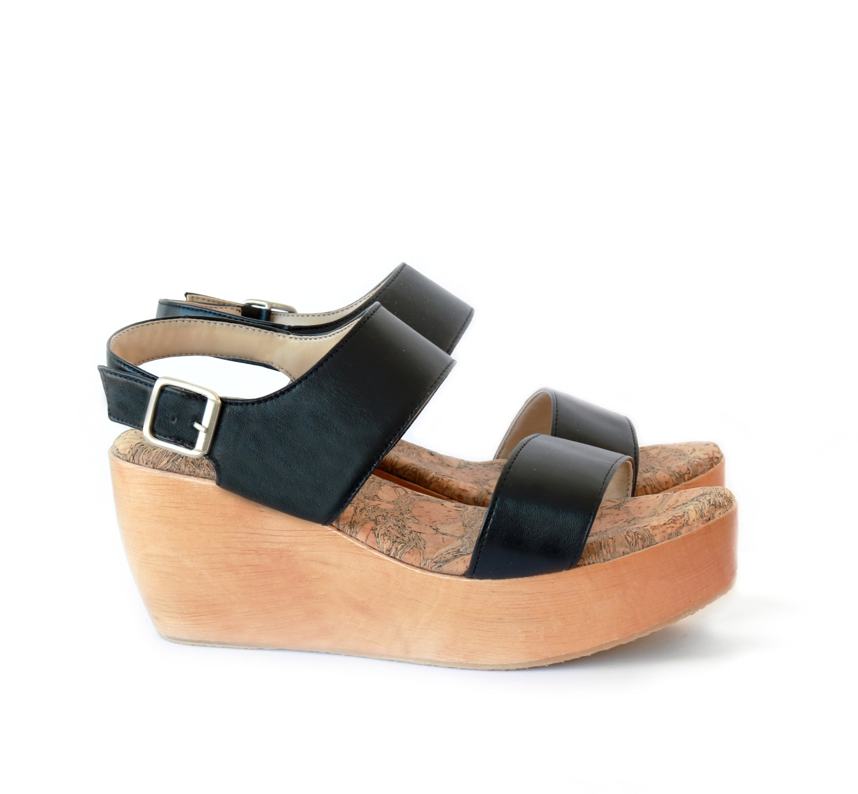 Sydney Brown Vegan, Animal-Free, Non-Leather, Ethical Classic Platform Sandals in Black Faux-Nappa, Summer Spring